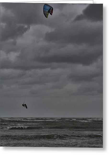 Kite Surfer Greeting Cards - Kite Surfer Greeting Card by Douglas Barnard