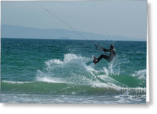 Kitesurfer Greeting Cards - Kite surfer jumping over a wave Greeting Card by Sami Sarkis