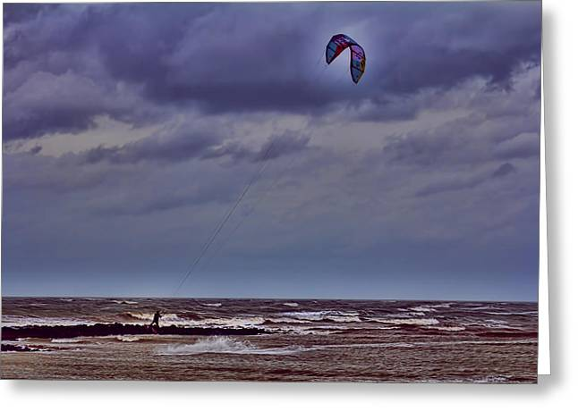 Kite Surfer Greeting Cards - Kite Surfer V3 Greeting Card by Douglas Barnard