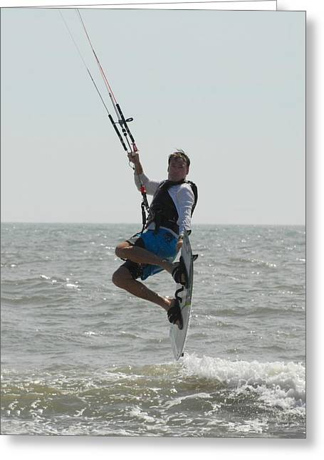Wind Surfing Print Greeting Cards - Kite Surfing 40 Greeting Card by Joyce StJames