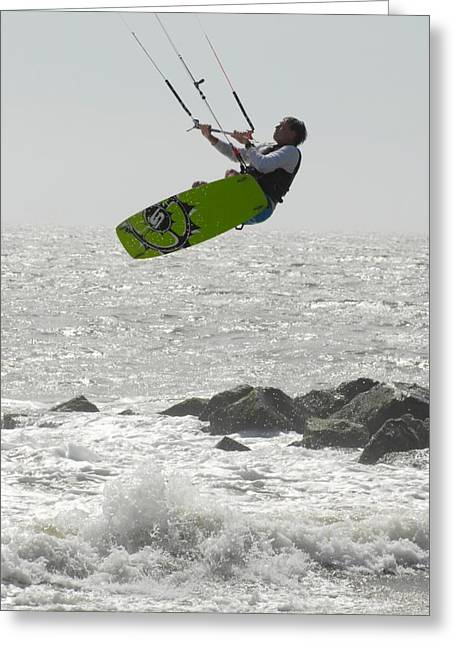 Wind Surfing Print Greeting Cards - Kite Surfing 41 Greeting Card by Joyce StJames