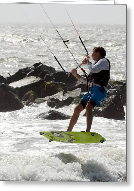 Wind Surfing Print Greeting Cards - Kite Surfing 42 Greeting Card by Joyce StJames