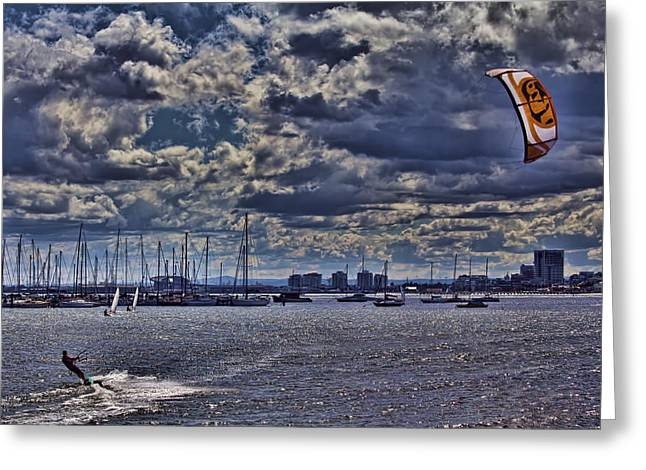 Kite Surfing Greeting Cards - Kite Surfing at St Kilda Beach Greeting Card by Douglas Barnard