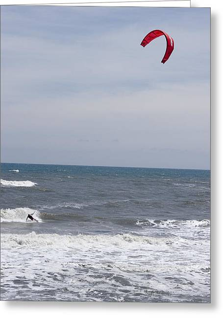 Kiteboarder With Kite In The Waves Greeting Card by Skip Brown