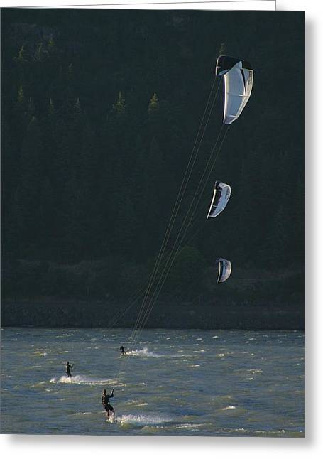 Kiteboarding Greeting Cards - Kiteboarding On The Columbia River Greeting Card by Skip Brown