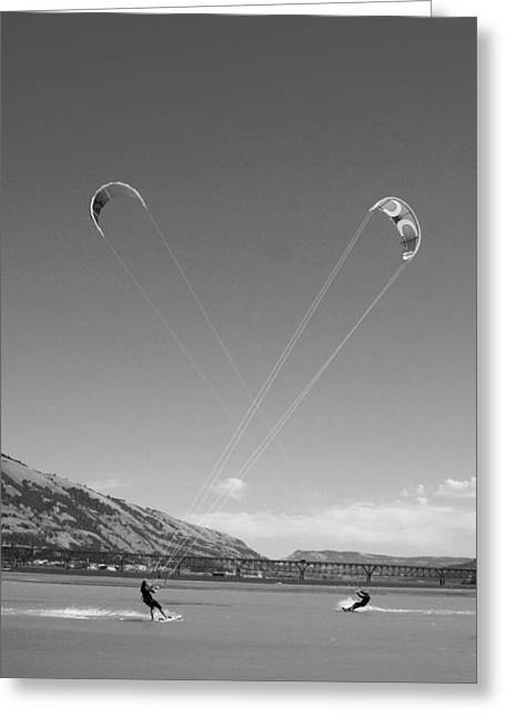 Kiteboarding Symmetry Greeting Card by Skip Brown