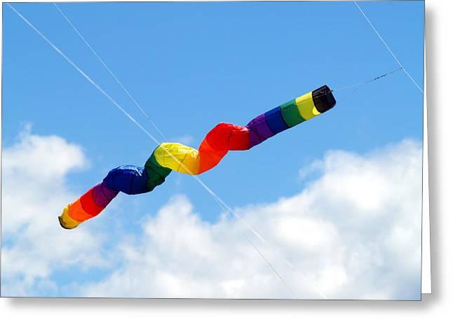 Kites Greeting Cards - KiteFlying4 Greeting Card by Robert Trauth