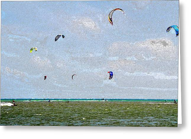 Kite Boarding Digital Art Greeting Cards - Kites over the Bay Greeting Card by David Lee Thompson