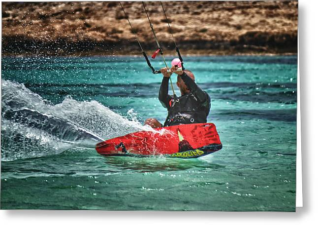 Kitesurfer Greeting Card by Stelios Kleanthous
