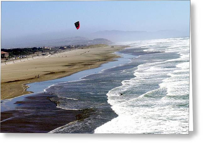 Kite Surfing Greeting Cards - KiteSurfing at SF Great Beach Greeting Card by Martha Carlozzi