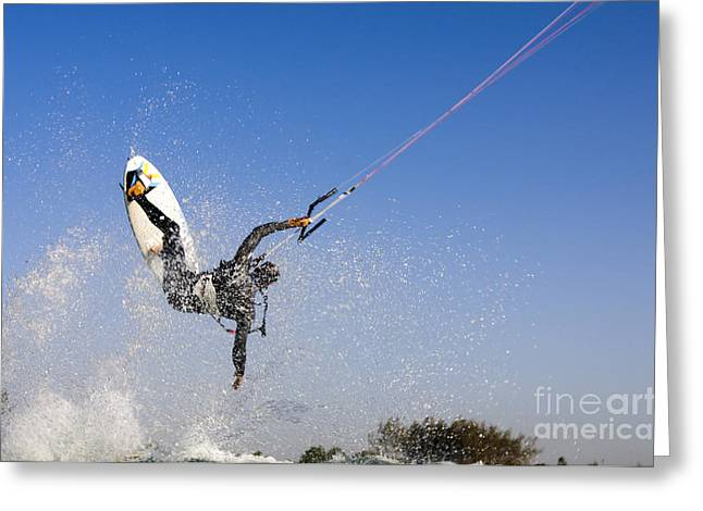 Kitesurfing Greeting Card by Hagai Nativ