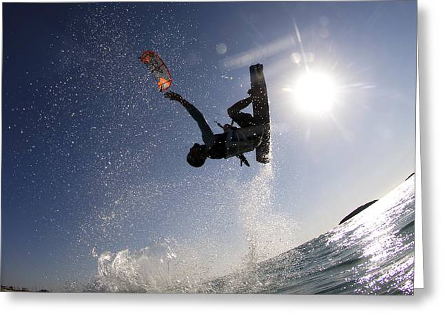 Sea Sport Greeting Cards - Kitesurfing in the Mediterranean Sea  Greeting Card by Hagai Nativ