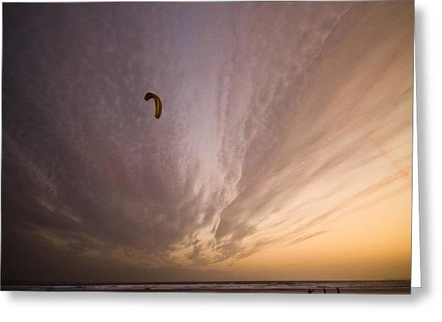 Kite Greeting Cards - Kiting in the moonlight Greeting Card by Angel  Tarantella