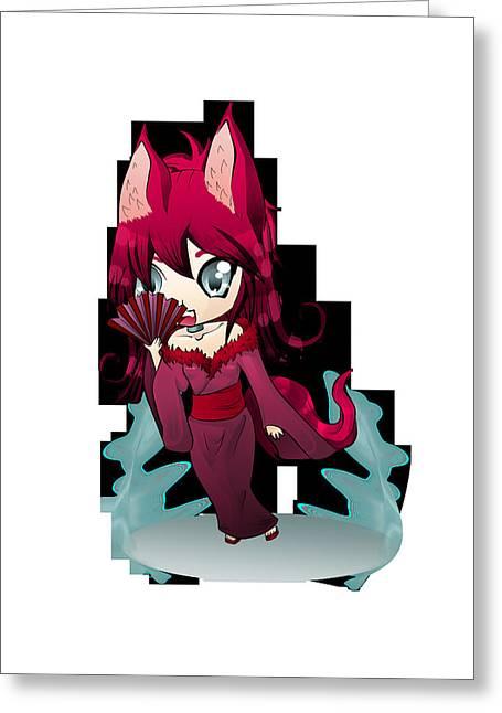 Loli Greeting Cards - Kitsune Fan Greeting Card by gaManKa