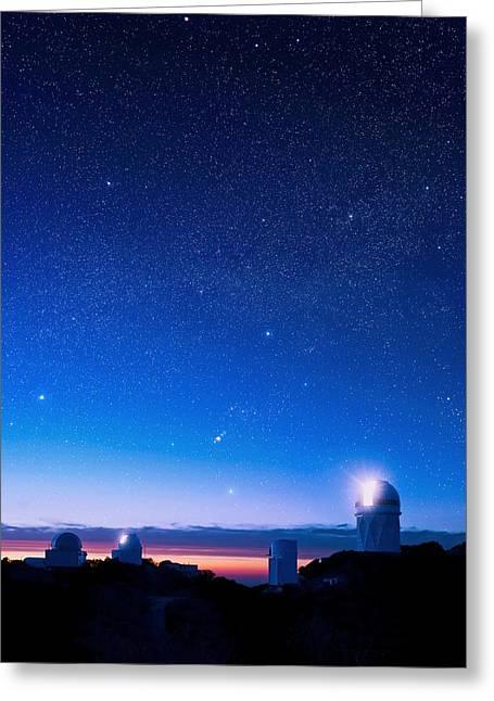 Stewards Greeting Cards - Kitt Peak National Observatory At Night Greeting Card by David Nunuk