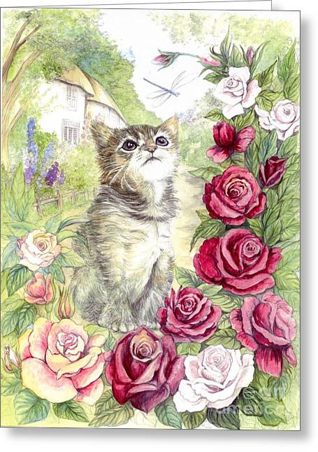 Cute Kitten Mixed Media Greeting Cards - Kitten and the dragonfly Greeting Card by Morgan Fitzsimons