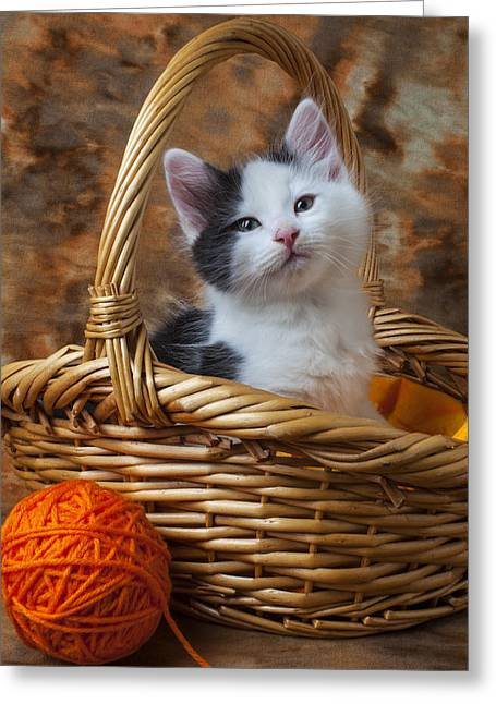 Pussy Greeting Cards - Kitten in basket with orange yarn Greeting Card by Garry Gay