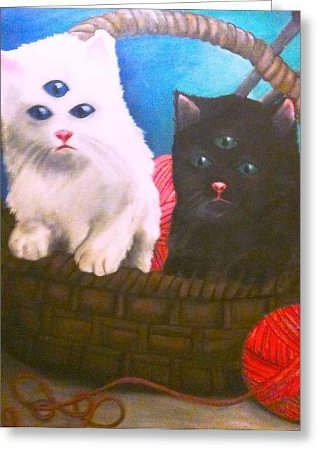 Kittens In A Basket Greeting Card by Katie Victoria Tolley