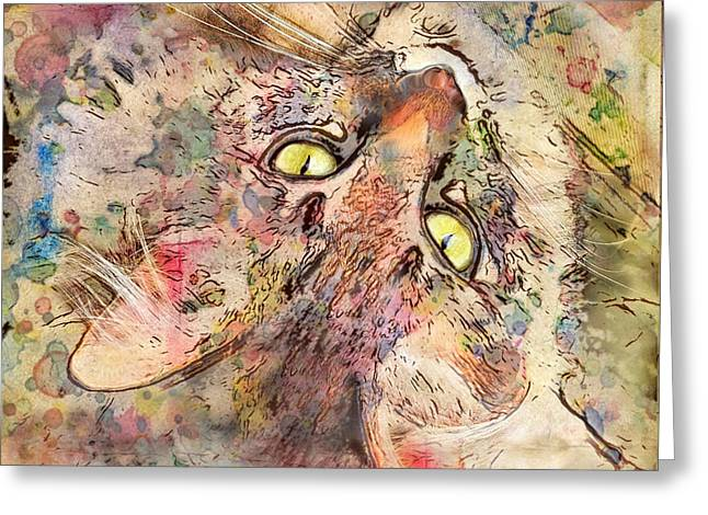 Best Sellers -  - Marilyn Sholin Greeting Cards - Kitty Fluffs Greeting Card by Marilyn Sholin