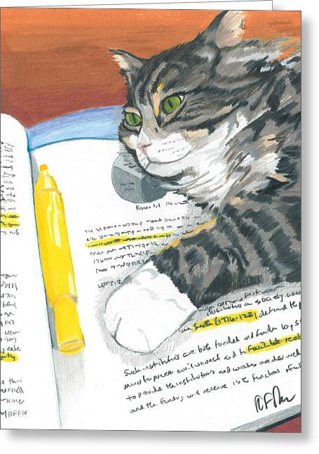 Homework Paintings Greeting Cards - Kitty Highlights Greeting Card by Steve Teets