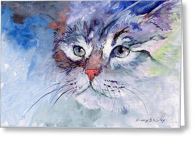 Kitty In Blue Greeting Card by Sherry Shipley