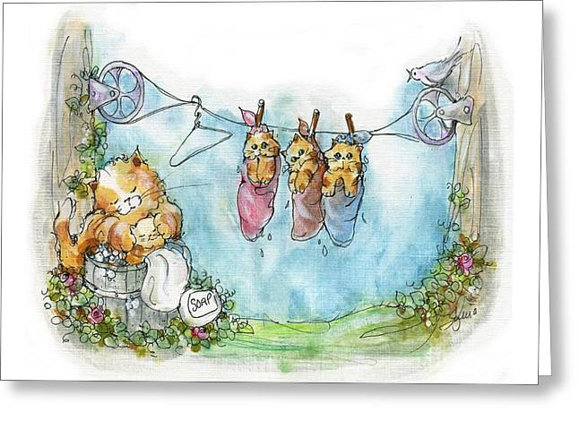 Washday Greeting Cards - Kitty Washday Greeting Card by Sylvia Pimental