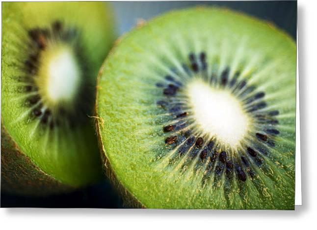 Kiwis Greeting Cards - Kiwi Fruit Halves Greeting Card by Ray Laskowitz - Printscapes