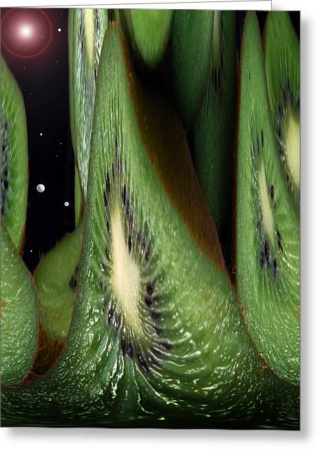 Exotic Fruit Greeting Cards - Kiwi Space Greeting Card by Terence Davis