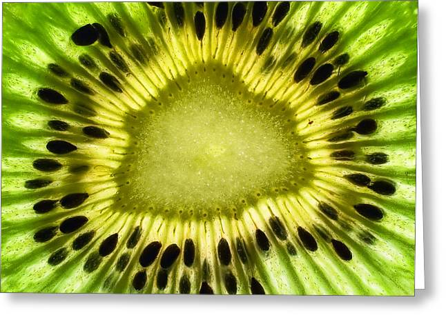 Fruits Photographs Greeting Cards - Kiwi Up Close Greeting Card by June Marie Sobrito