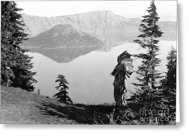 Crater Lake Greeting Cards - KLAMATH CHIEF, c1923 Greeting Card by Granger