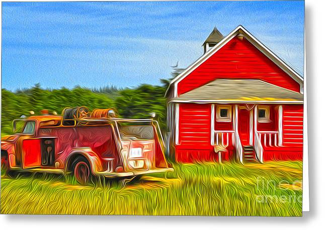 Red School House Greeting Cards - Klamath Old Fire Truck and red School House Greeting Card by Gregory Dyer