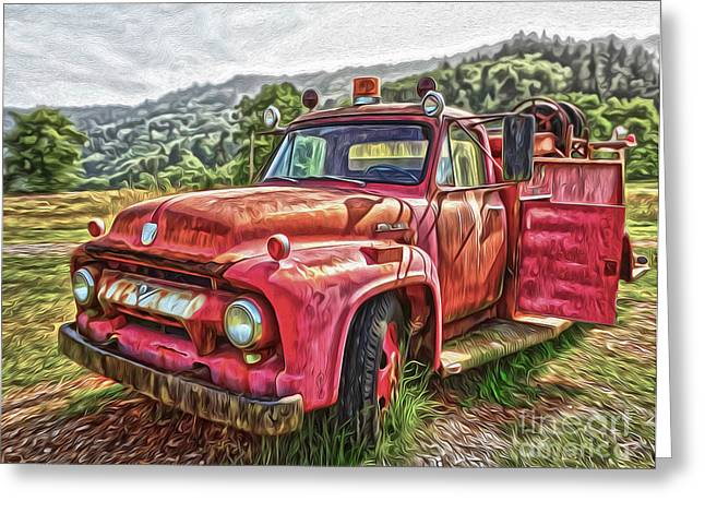 Gregory Dyer Greeting Cards - Klamath Old Fire Truck Greeting Card by Gregory Dyer
