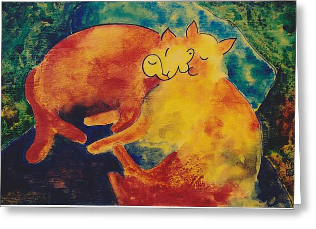 Best Sellers -  - Pictures Of Cats Greeting Cards - Klees Sleeping Cats Greeting Card by Eve Riser Roberts