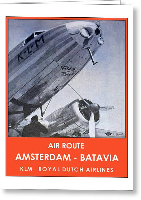 Klm Greeting Cards - KLM Amsterdam Batavia Greeting Card by Nick Diemel
