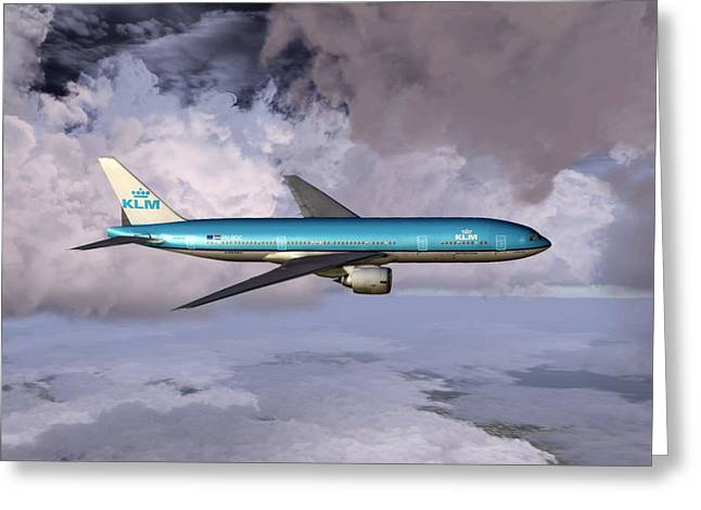 Commercial Aviation Greeting Cards - KLM Boeing 777 Greeting Card by Mike Ray