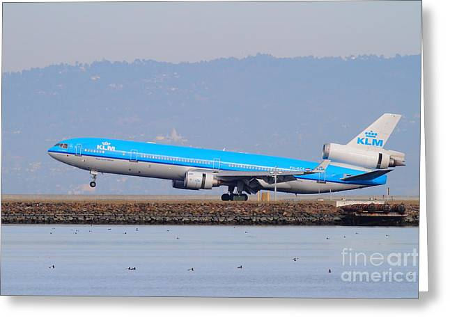 Airplane Landing Greeting Cards - KLM Royal Dutch Airlines Jet Airplane At San Francisco International Airport SFO . 7D12157 Greeting Card by Wingsdomain Art and Photography