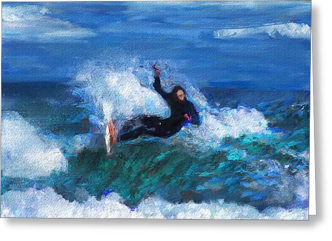 Knifing Through The Surf Greeting Card by David Lane