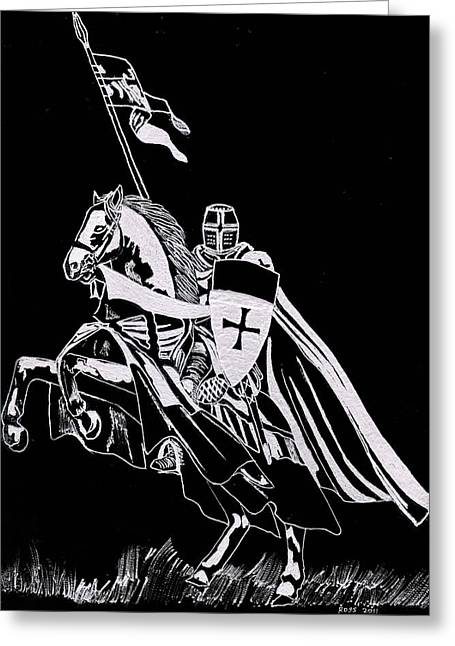 Fantasy Glass Greeting Cards - Knight Templar Greeting Card by Jim Ross