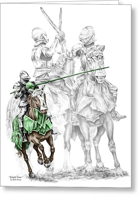 Renaissance Drawings Greeting Cards - Knight Time - Renaissance Medieval Print color tinted Greeting Card by Kelli Swan