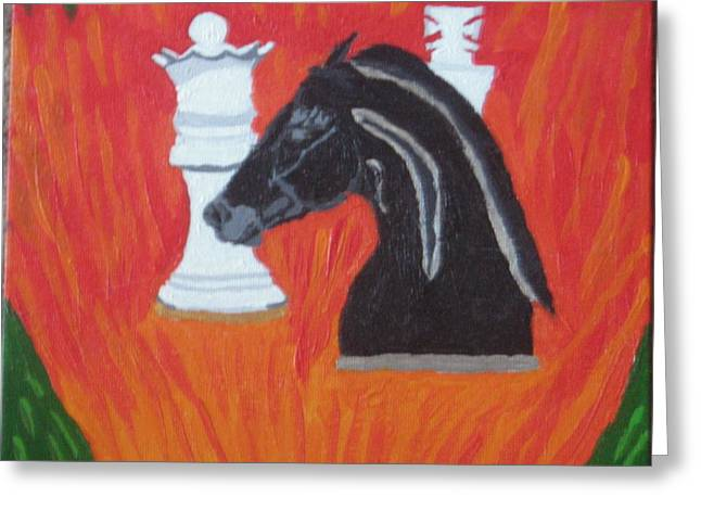 Chess Piece Drawings Greeting Cards - Knighted Greeting Card by Melissa Nowacki