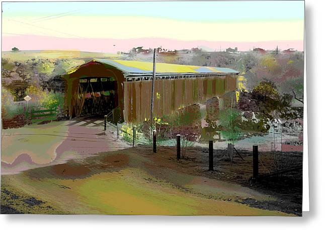 Charles River Mixed Media Greeting Cards - Knights Ferry Covered Bridge Greeting Card by Charles Shoup