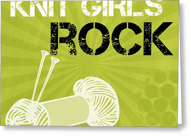 Knitting Greeting Cards - Knit Girls Rock Greeting Card by Linda Woods