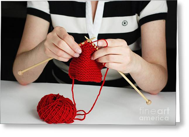 Hand-knitted Greeting Cards - Knitting Greeting Card by Photo Researchers, Inc.