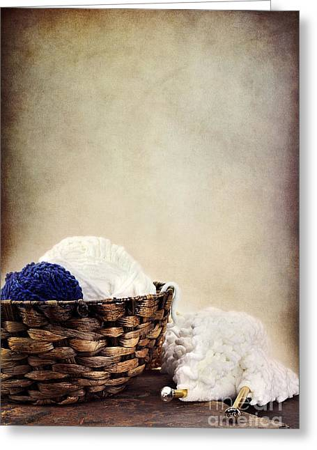 Knitting Greeting Cards - Knitting Supplies Greeting Card by Stephanie Frey