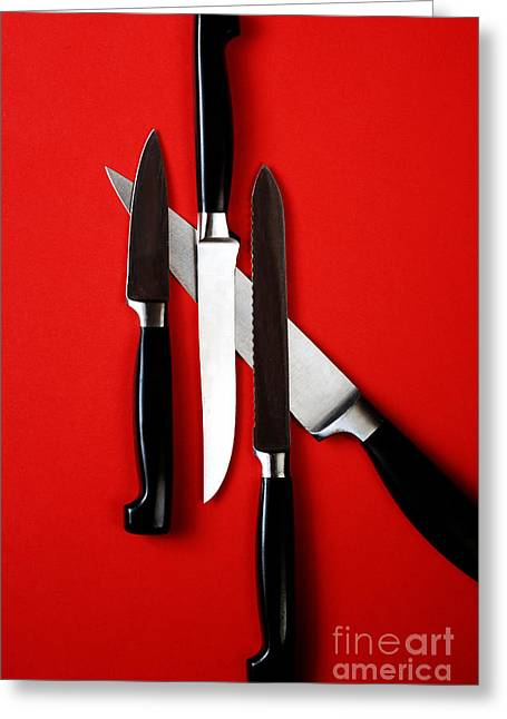 Stainless Steel Photographs Greeting Cards - Knives On Red Greeting Card by HD Connelly