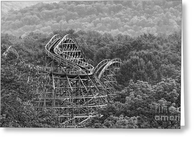 Wooden Coaster Greeting Cards - Knobels Wooden Roller Coaster Black and White Greeting Card by Paul Ward