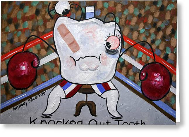 Falboart Greeting Cards - Knocked Out Tooth Greeting Card by Anthony Falbo