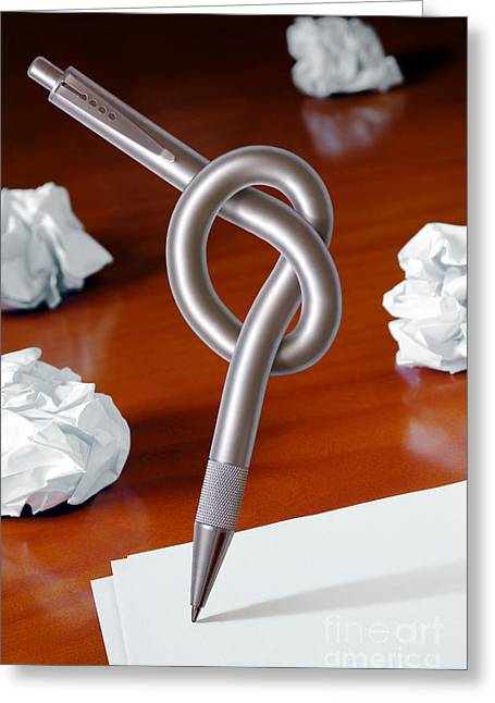 Mistake Greeting Cards - Knot on Pen Greeting Card by Carlos Caetano