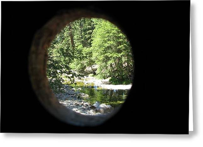 Knothole Greeting Cards - Knothole View Wawona Covered Bridge Greeting Card by Chris Gudger