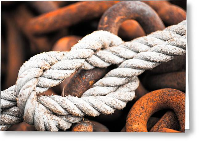 Fishing Boats Greeting Cards - Knots and Chains Greeting Card by Josh Cole Imaging